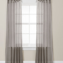 Lush Décor - Helena Gray Curtain Panel - Set of Two - These elegant curtains feature loose loops for easy installation and provide unity to a bedroom or living room with their quaint and delicate frame.   Includes two panels 38'' W x 84'' H Polyester Dry clean Imported
