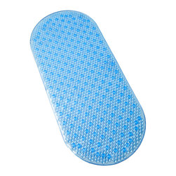 Tushies & Toes - Tranquility Oval Bathmat, Blue - Raised bubble design provides non-slip safety for your shower. Soothing textured surface gently massages tired feet. Oval design fits most bathtubs. Mat stays securely in place with strong suction. Available in three colors.