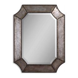 Uttermost - Hammered Aluminum with Bronze Rectangular Mirror - Frame is made of distressed, hammered aluminum with burnished details and rust brown trim. Mirror has a generous 1 1/4 inch bevel.