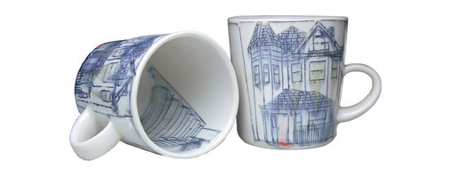 Nicole Aquillano Ceramics - Home Mug - Porcelain mug with inlaid drawing of Home on the front, reverse showing back of home, staircase on interior, and Nicole's signature on the bottom. Mug measures approximately 4.75 x 3.75 x 4 inches.