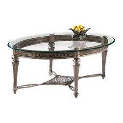 Magnussen - Magnussen Galloway Antique Oval Cocktail Table with Glass Top - Magnussen - Coffee Tables - 37526XKIT