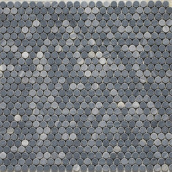 Penny Round Mosaic tiles - penny round tile, penny tiles, shower floor tile, white tile, round tile, floor tile, bathroom tile, shower floor tile, bathroom floor mosaics, non-slip tiles, white tiles, carrara, crema marfil, grey tile, circle tile, dotcom, getaround tile