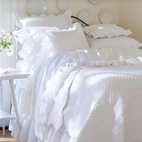 Taylor Linens Laura Beddings Collection Quilt - If we were attempting to add farmhouse touches to our homes, we would absolutely use layers of crisp white linens in the bedrooms. But it might take a lot of convincing for our husbands to let us have that many pillows on the bed.
