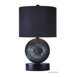 Joshua Marshal - One Light Ebony Lacquer Ebony Deco Glass Table Lamp - One Light Ebony Lacquer Ebony Deco Glass Table Lamp