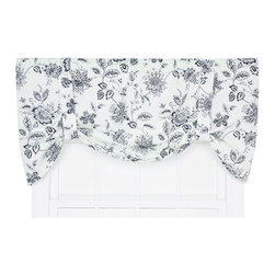 Ellis Curtain - Winston Navy 60 x 24-Inch Tie-Up Valance - - Ellis Curtain Winston Monochromatic Floral Print Tie-Up Valance - The easiest way to completely transform any room in your house is to add a new set of window treatments. The Winston Curtain Program is a monochromatic floral Jacobean print that is sure to add charm and harmony to any room. The navy blue floral scheme on off white background creates the perfect accent that is designed to coordinate easily within your home decor. Made with 52-percent polyester and 48-percent, 5-ounce cotton duck fabric, creating a smooth draping effect with soft texture and easy maintenance. The Tie-Up Valance is a one-piece valance with two adjustable strap ties that drape over a decorative 3-Inch rod pocket for easy hanging. Width is measured overall 60-Inch, length is measured overall 24-Inch from header top to bottom of panel. Machine washable   - A drapery rod, which is not included, is required to complete installation   -Please note that bottom curtains are sold separately Ellis Curtain - 730462718570