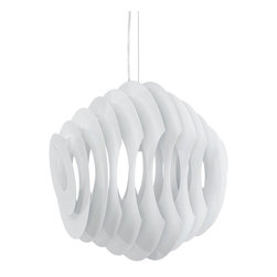 LexMod - Fish Aluminum Chandelier in White - Swim through your room with an unbounded sense of creativity. The Fish modern light pendant helps you take to the skies and dive into the ocean with a fluid piece that connotes waves of progress no matter what the altitude. Made of painted aluminum strips, Fish adjusts from a height of 20-59  from your ceiling.