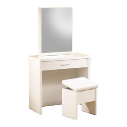 Adarn Inc. - Glossy Make up Table Vanity Set Hidden Storage Mirror Lift-Top Stool, White - This seemingly simple vanity set brings a whole lot of fashion and function to your bedroom or changing area. Hidden storage in the mirror includes shelves and hooks, while a partitioned drawer in the front of the piece offers small compartments for ultimate organization. The coordinating stool offers even more hidden storage underneath its lift-top seat. With sleek minimalistic construction and a glossy cappuccino / white finish, this attractive vanity set offers an instant update for your home furnishings.