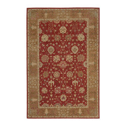 """Nourison - Nourison Heritage Hall HE13 3'9"""" x 5'9"""" Brick Area Rug 66318 - Infused with the warmth of sun-baked clay, this brick-red beauty fills the home with sensual color. Antique gold details enhance the patina, while the richly detailed floral motifs convey an irresistible sense of joyous life."""