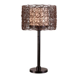Kenroy - Kenroy KR-32219BRZ Tanglewood Outdoor Table Lamp - Natural looking all-weather rattan entwines itself into a swirling patterned drum encircling a White glass inner shade.