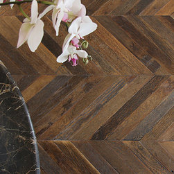 Antique French Oak Chevron Wood Floors - We would love nothing more than to have this flooring in our home. Nothing says Parisien apartment to us more than this floor.