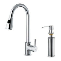 Vigo VG02005CHK2 Single Handle Pull Down Kitchen Faucet with Soap Dispenser - The simply elegant Vigo VG02005CHK2 Single Handle Pull Down Kitchen Faucet with Soap Dispenser has a contemporary design that will bring your kitchen into the 21st century. In addition to its modern style this fixture also adds modern convenience like a retractable sprayer and matching soap dispenser that keeps your dish liquid at the ready. Product Specifications ADA Compliant: Yes Low Lead Compliant: Yes Mount Type: Deck Mount Handle Style: Lever Valve Type: Ceramic Disc Flow Rate (GPM): 2.2 Swivel: 360 degrees Spout Reach: 9 in. About Vigo Industries LLCFounded just over a decade ago in Rahway N.J. Vigo Industries has established a reputation for offering attractive affordable innovative and durable kitchen and bath products. From faucets and sinks to shower enclosures and bathroom vanities Vigo's products are designed with state-of-the-art engineering that combines efficiency and elegance. Vigo's engineering and design teams always look ahead to fulfill the ever-evolving needs and tastes of consumers bringing them the latest styles and trends without compromising quality.