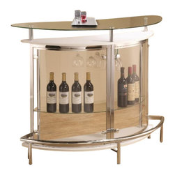 "Coaster - Bar Unit (White) By Coaster - Contemporary style makes this bar unit a must have. The sleek design features a durable metal frame, a unique rounded shape, a tempered glass top and a durable metal frame. The middle of the unit includes a demilune shelf and stemware storage. This bar is complete with a glossy white finish and is sure to jazz up any room in the house. Dimensions : 50.75"" x 20"" x 41"""