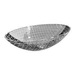 Maestrobath - De Medici Luxor Crystal Oval Modern Sink - Luxury and beauty formed by pure crystal with 24% lead content; Luxor is blown by mouth and beveled in stone by our master artists into the shape of a circular or oval bowl. No machine or modern technology has been used in the creation of this exquisite wash basin. Luxor is the product of the collective knowledge of crystal making acquired through years of ancient and noble glass arts. The cut glass creates a rectangular grid pattern on the outside and it is polished by hand on the inside for a smooth and hygienic surface. This beautiful vessel sink brings luxury to any bathroom.