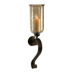 IMAX CORPORATION - Medium Scroll Base Wall Sconce with Brown Luster Glass - Brown luster glass glows from the light of a pillar candle and creates a rich ambiance from this medium scroll base wall sconce. Find home furnishings, decor, and accessories from Posh Urban Furnishings. Beautiful, stylish furniture and decor that will brighten your home instantly. Shop modern, traditional, vintage, and world designs.