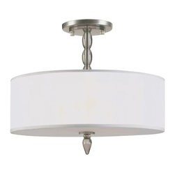 Satin Nickel Semi-Flush With Light Gold Silk Shade, Satin Nickel Finish - Dress up the bedroom with a new light fixture. This one is classic and timeless.
