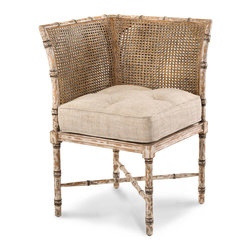 Weathered Bisque Corner Chair - Two slightly curved panels of attractive traditional caning cradle a thick, tufted cushion for wondrous comfort, turning a difficult spot in your home into a flawlessly elegant representation of the finest old-world imported style.  The Weathered Bisque finish on the wood of this Corner Chair draws attention to the wonderfully antique faux bamboo carving of the frame.