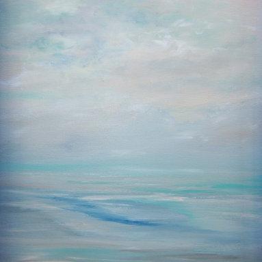 sheri wilson - Pink Turquoise Blue Pastel Seascape Minimalist Original Canvas Seascape - Original Minimalist Surreal Pink Turquoise Blue Pastel Seascape