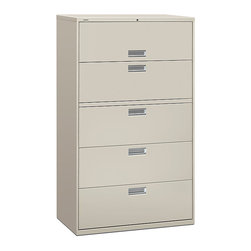 Hon - Brigade 600 5-Drawer Lateral File - How can your head be in your headquarters when things aren't properly organized and filed away? This gray-steel lateral file comes in several sizes to suit your needs, each featuring a garage door storage space on top and four smooth-glide drawers for hanging file folders.