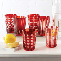 """Tozai - Ruby Hand-Etched Old-Fashioned Glasses Set of 6 - These old-fashioned glasses pair simple design and a modern aesthetic. On ruby red glass, hand-etched, clear glass patterns express visual interest. 3.5""""Dia x 4.5""""H; Set of six; Hand wash"""