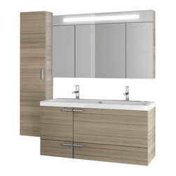 ACF - 47 Inch Larch Canapa Bathroom Vanity Set - Rectangular in shape and a contemporary design make this bathroom vanity set ideal for you master bathroom. It is a 47 inch wide vanity set that includes a vanity cabinet, bathroom sink, medicine cabinet, and tall storage cabinet. It is a wall mounted set