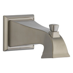 Delta - Delta RP52148SS Dryden Tub Spout - Pull-Up Diverter in Stainless - Delta RP52148SS Dryden Tub Spout - Pull-Up Diverter in StainlessThe clean lines and geometric forms of the Dryden Collection are based on style cues of the Art Deco period.  Getting ready in the morning is far from routine when you are surrounded by a bath that reflects your personal style.  Sometimes accessories make all the difference and that's why Delta offers a variety of bath accessory items.  The simple, yet sophisticated design of the Dryden Collection is available in a full suite of products that's at home in settings from old-world to arts and crafts to modern.Delta RP52148SS Dryden Tub Spout - Pull-Up Diverter in Stainless, Features:• Brilliance Stainless