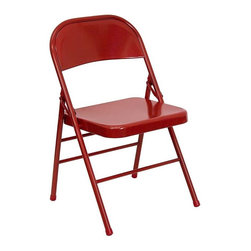 Flash Furniture - Hercules Triple Braced Metal Folding Chair - Set of 4. Metal commercial grade folding chair. Triple braced frame. Double hinged. V-Tip stability caps. Non marring floor glides. Warranty: 2 year limited. Made from 18 gauge steel. No assembly required. Back: 18 in. W x 14.5 in. H. Seat: 15.75 in. W x 15.75 in. D. Seat Height: 16.75 - 17.75 in.. Overall: 19 in. W x 18 in. D x 30 in. H (6 lbs.)