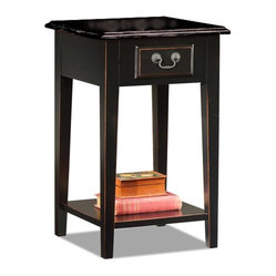 Black Oak-edged Square Side Table