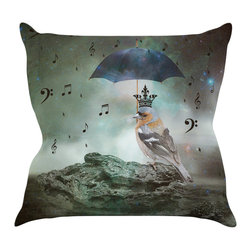 """Kess InHouse - Suzanne Carter """"Umbrella Bird"""" Throw Pillow (18"""" x 18"""") - Rest among the art you love. Transform your hang out room into a hip gallery, that's also comfortable. With this pillow you can create an environment that reflects your unique style. It's amazing what a throw pillow can do to complete a room. (Kess InHouse is not responsible for pillow fighting that may occur as the result of creative stimulation)."""
