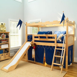Maxtrix - Camelot Tent Loft with Slide Multicolor - MXTX176 - Shop for Bunk Beds from Hayneedle.com! Storybook tales leap off the pages and into kids' play dates with the Camelot Tent Loft with Slide. Crafted with durable solid birch in a natural wood finish this loft impresses with imaginative castle styling that brings a little magic to busy afternoons and dreamy nights. It starts with an elevated twin bed which boasts a solid panel headboard and footboard square posts and an 11-inch guard rail to prevent nighttime falls. From there an angled smooth slide and corresponding angled ladder with deep grooved steps and a safety railing provide a path to and from the top and underbed curtains and a crowning castle bed kit with flags set the scene.We take your family's safety seriously. That's why all of our bunk beds come with a bunkie board slat pack or metal grid support system. These provide complete mattress support and secure the mattress within the bunk bed frame. Please note: Bunk beds and loft beds are only to be used by children 6 years of age or older.