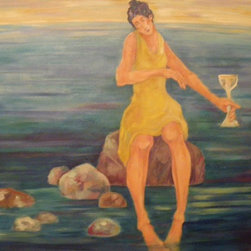 Audrey Mabee, 'On the Rocks' - 1992, signed original oil on canvas with artist's gold-colored wood frame. Please allow additional lead time as this artwork is shipped from Canada (to Seattle), before being shipped to buyer.