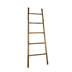 "Master Garden Products - 6' Bamboo Ladder Rack, 18""W x 72""H - Our bamboo ladder is uniquely designed to be used as a towel rack. It is made of natural bamboo and sand finished for indoor use. Finished with an all natural cashew nut oil to enhance its look as well as for extra protection.  Top of ladder: 17"" wide, Bottom of ladder: 21"" wide"