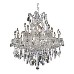 """PWG Lighting / Lighting By Pecaso - Karla 19-Light 30"""" Crystal Chandelier 2381D30C-RC - Karla was an Empress from 1740 to 1780 in the waning days of the Baroque period. The Baroque love of embellishment is highlighted in the elaborate crystal swags and drops that fully dress these fixtures in a look that is pure luxury. From the gold or chrome finish to the fully lavish crystal dressing, this Karla collection represents opulent sophistication."""