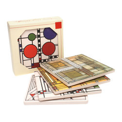 """CoasterStone - Frank Lloyd Wright Glass Designs Sandstone Coasters Gift Set 1, Set of 4 Coaster - This Frank Lloyd Wright gift set of coasters is inspired by his art glass designs. The Wright gift collection contains one each of the following coaster designs: Willits, Dancing Glass, Oak Park Skylight, Coonley Playhouse Window. Each Frank Lloyd Wright coaster is 4"""" square, made of original porous sandstone and is cork-backed to protect furniture and prevent scuffs."""