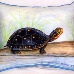 Betsy Drake - Spotted Turtle Indoor - Outdoor Pillow - Use indoors or outdoors.  This happy turtle will be a great addition to any garden patio furniture or room.  Tough, durable and fade resistant.  Spot clean or machine wash.