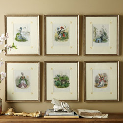 Garden Siren Prints - Our founder, Robin Sheldon, adored these charming lithographs from the first moment she saw them. Each piece portrays a whimsical garden fairy as their colorful flower spirit. French artist, J. Grandville, originally published them in 1875. They are printed on fine quality, paper, matted in crackled cream with hand-painted gold fleur-de-lis and accented in wood frames with anti-glare glass. Lovely as a set, conversation will follow these intriguing floral studies from France. Buy the collection or choose Myosotis, Bleuet et Coquelicot, Narcisse, Tulipe, Violette or Ceillet.