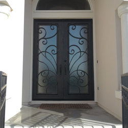 Double Square Top Iron Door - San Pedro Design Double Wrought Iron Door with Square Top, handcrafted and perfectly welded details.
