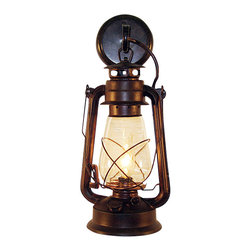 Muskoka Lifestyle Products - Wall-Mounted Lantern - This Lantern Wall Sconce has our rustic finish with the look of an original oil lantern to provide that authentic touch to your space. This item is UL listed as an indoor, wall mounted fixture only.