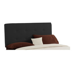 Skyline Furniture - Tufted Fabric Headboard (Full: 56 W x 4 D x 54 H) - Choose Size: Full: 56 W x 4 D x 54 HInstantly update your bedroom with this black fabric upholstered headboard. This attractive piece features a rectangular design with 2 rows of matching buttons that create a square tufted pattern. Relax against this soft piece while reading or watching TV in bed. Metal legs. Fabric headboard. Plush polyurethane foam cotton. Works well with lots of bedroom furniture settings. Bolts easily to any standard bed frame. Guarantees product from manufacturers defects and does not include fabric. One year limited warranty. Made in U.S.A. Made from pine wood