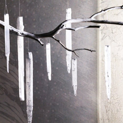 Selenite Icicle Ornament - You kind of need to see these up close and in the light. Hand-sliced selenite is highly reflective and perfect for your tree or any corner of your home that needs brightening!