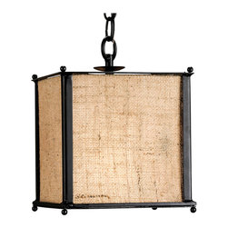 Kathy Kuo Home - Walford Petit Wrought Iron Frame Burlap Pendant Lamp - Drawing upon the earthy attitude of mid century modern design, this wrought iron and burlap box shade light creates a distinctive yet simple effect.  Effectively a jute and iron covered lantern,  this piece creates effortless sophistication.