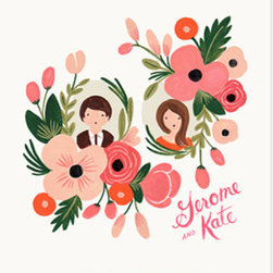 Custom floral portrait print - It's the thought that goes into the gift that truly makes a great Valentine's present. And a custom portrait of you and your sweetheart by artist Anna Bond is about as thoughtful as it gets.