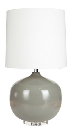 Surya - Surya Ceramic Ball Gray Table Lamp - This Surya table lamp's graceful curves captivate in mod interiors. Sleek in gray ceramic, this fixture rests on a clear crystal base for contemporary glamour. Ceramic; Clear crystal; White drum shade; Clear cord; Three-way metal turn knob; Decorative finial; Accepts one 150W max bulb (not included)