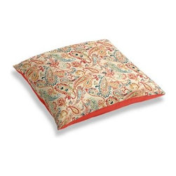 Red Multicolor Paisley Custom Floor Pillow - A couch overflowing with friends is a great problem to have.  But don�۪t just sit there: grab a Simple Floor Pillow.  Pile ���em up for maximum snugging or set around the coffee table for a casual dinner party. We love it in this classic multicolor paisley linen that plays nice with decor from traditional to eclectic.
