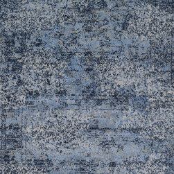 """Loloi Rugs - Loloi Rugs Viera Collection - Lt. Blue / Grey, 5'-3"""" x 7'-7"""" - Classically expressed design elements enjoy a graphic, modern twist in the Viera Collection. Power-loomed of 100-percent polypropylene, these tasteful contemporary and refined transitional designs reverberate with style. A deliberate high-low pile adds to the worn, vintage look and finish of each rug. Ultra sophisticated black/ivory and mocha/ivory color options add broad appeal to this timely yet timeless collection."""