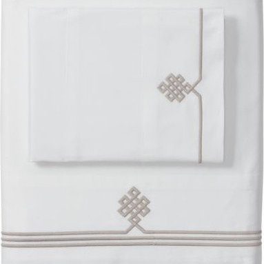 Serena & Lily - Bark Gobi Embroidered Sheet Set - I really like the sophisticated edging detail on this 300-thread-count, 100 percent cotton sateen sheet set.