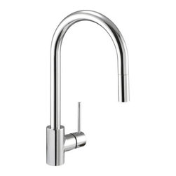 "Danze - Danze DH450177 Chrome Citron Pull Down Spray Kitchen Faucet From the - Product Features:Faucet body and handles feature all-brass constructionFully covered under Danze's limited lifetime faucet warrantyHigh-quality finishing process – finish covered under lifetime warrantyKitchen faucets from Danze are designed to not only function flawlessly, but nourish the eyeSmooth single handle operationPull down spray faucet head with quiet function hose enhances faucet versatility ADA compliant handleLow lead compliant – meeting federal and state guidelines for lead contentAll hardware required for faucet installation is includedProduct Technologies and Benefits:Drip-Free Ceramic Disc Valves: By making these components standard across all of their kitchen faucets, Danze has made leaking and rough operating faucets a thing of the past. These valves provide a lifetime of smooth handle control, and Product Specifications:Overall Height: 16-1/4"" (measured from mounting deck to highest point on faucet)Spout Height: 8-1/8"" (measured from mounting deck to spout outlet)Spout Reach: 8-1/4"" (measured from center of faucet body to center of spout outlet)Faucet Holes: 1 (number of holes required for faucet installation)Flow Rate: 2.2 gallons-per-minute1 handle included with faucetMaximum Deck Thickness: 2"" (cannot mount on decks thicker without extension kit)Designed for use with standard U.S. plumbing supply bibs"