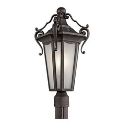 Kichler Lighting - Kichler Lighting Nob Hill Traditional Outdoor Post Lantern Light X-ZR81494 - Beautiful scrolling details add intricacy to this classic Kichler Lighting outdoor post lantern light. From the Nob Hill Collection, the elongated body and elegant details are complimented by a classic Rubbed Bronze finish. This cast aluminum traditional outdoor lighting fixture also features etched seedy glass panels that help create a more evenly diffused light.