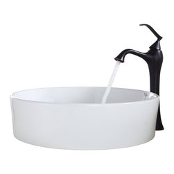 Kraus - Kraus White Round Ceramic Sink and Ventus Faucet Oil Rubbed Bronze - *Add a touch of elegance to your bathroom with a ceramic sink combo from Kraus
