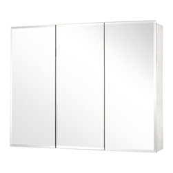 Pegasus - Tri-View Beveled Mirror 48 in. Medicine Cabin - Manufacturer SKU: SP4590. Includes side mirror and hanging kit. Adjustable glass shelves. Rust-free aluminum case. Self-closing hinges open upto 110 degree. Recess or surface mount. 48 in. W x 5 in. D x 31 in. H (83.6 lbs.)