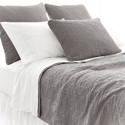 Pine Cone Hill - baja matelasse coverlet (anthracite) - Interlocking rectangles of soft cotton are an unexpected, textural touch, on a goes-with-anything neutral coverlet.��This item comes in��anthracite.��This item size is��various sizes.